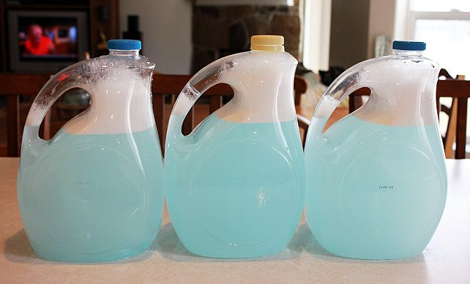 JILLEE'S SUPER FAST & EASY HOMEMADE LAUNDRY DETERGENT 3 T Borax 3 T Washing Soda 2 T Dawn Ultra Dishwashing Liquid add all ingredients to 1 gallon jug.  Add a couple cups of VERY hot tap water.  Swirl till dissolved.  Fill to top with cold water.  Is a thin detergent, but works well.  1 cup per load at less than 20 cents per gallon.  Check out her blog for a homemade fabric softener