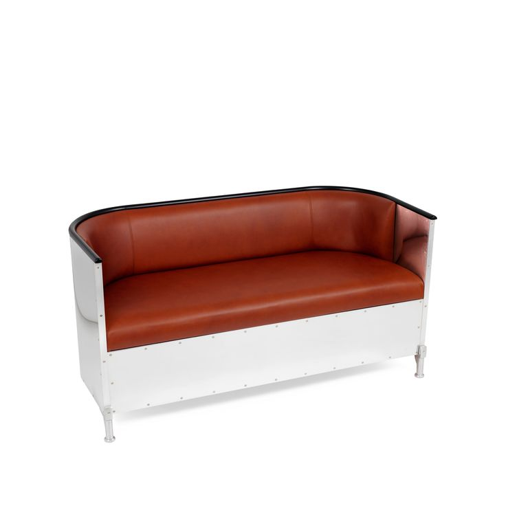 Theselius soffa - Theselius soffa - mörkbrunt läder, polerad aluminium