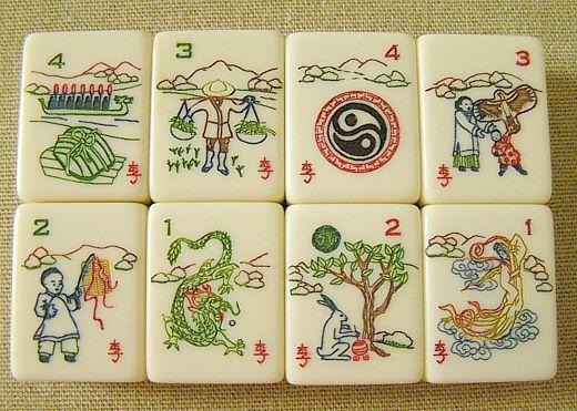 Red Coin Mah Jong Third Edition 2009, The Lunar Set: Flower tiles