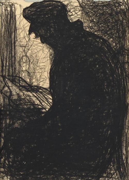 Georges Seurat (French, 1859-1891), Le Liseur, c. 1881. Black Conté crayon on paper laid down on board, 31 x 21.9 cm.