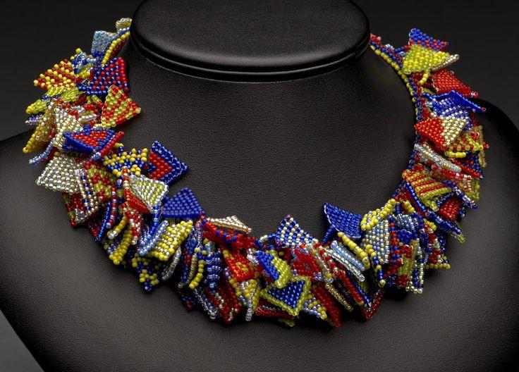 """180 Triangles"" neckpiece by Nan Morrissette: no two triangles alike... my own original design... seed beads, brick stitch, tubular peyote stitch"