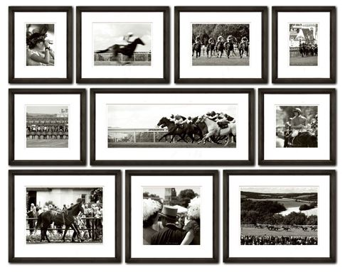 Set of Ten Black and White Ben Wood Racing Prints-FREE SHIPPING! from www.wellappointedhouse.com #homedecor #decorate #wallart #wallbrackets #plateholders