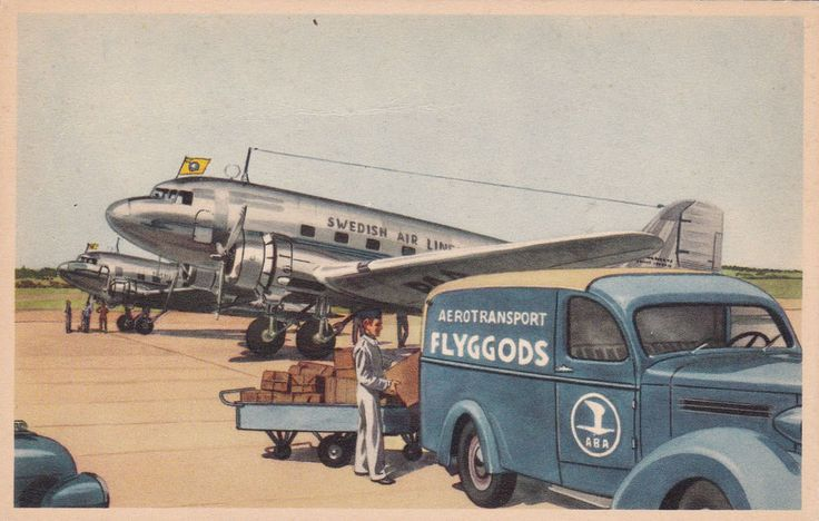 Swedish Airlines ABA Airplane &Truck , 1930s