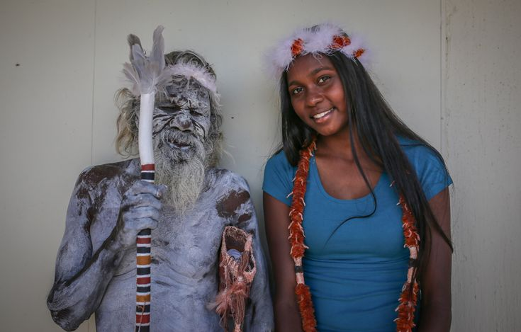 Aboriginal elder Gali Yalkarriwuy Gurruwiwi with his granddaughter Sasha Mulungunhawuy Yumbulul