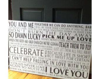 I won't give up Song Lyrics on canvas anniversary por redbarncanvas