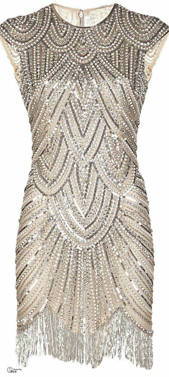 Art deco, beaded, flapper, Gatsby type dress