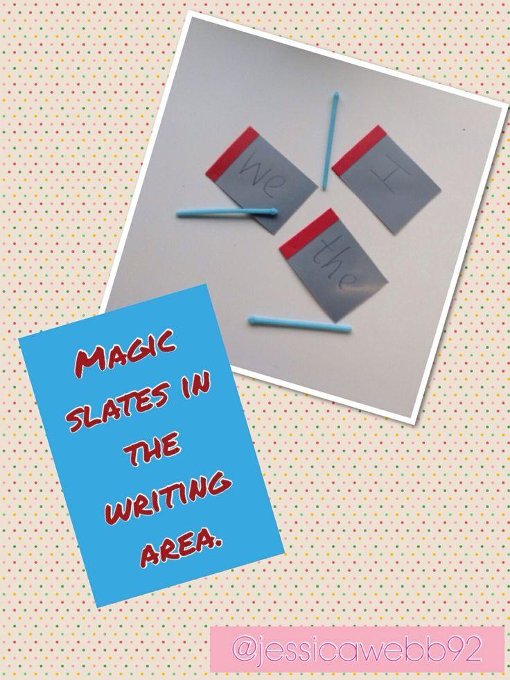 Writing words / sounds on magic slates. £1 each on amazon! EYFS