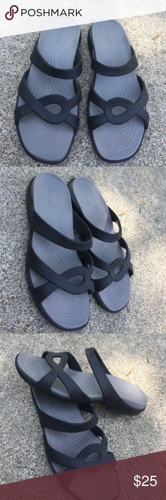 Women's Crocs Black Sandals Size 10M. Worn once! Women's Crocs Black Sandals Size 10M. Worn once! Look new CROCS Shoes Sandals