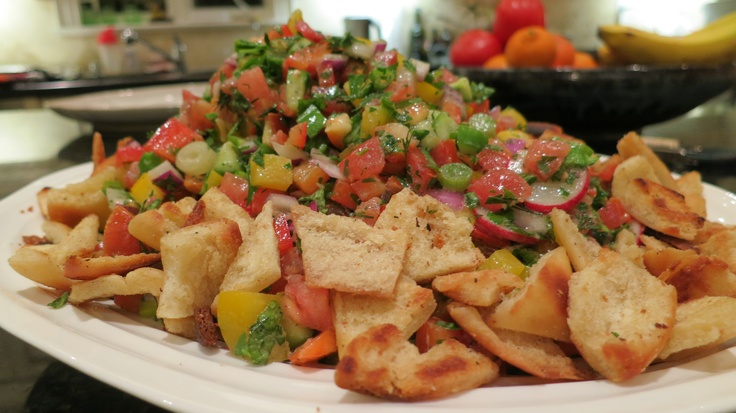 Israeli Salad with Toasted Pita Chips