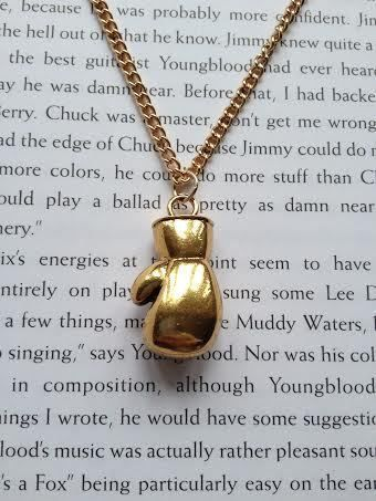 Gold Boxing Glove Necklace Mens Boxer Pendant by Happywatermelon