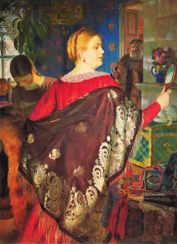 Boris Mikhaylovich Kustodiev (Бори́с Миха́йлович Кусто́диев) (Russian artist, 1878-1927) - Merchant Wife with a Mirror 1920