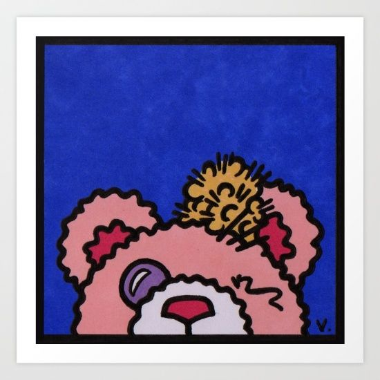 by Vernon Fourie | popart, pop art, broken, toy, teddybear, teddy, bear, pen and ink, blue, pink