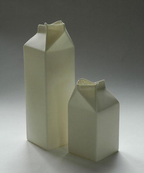 Ceramic milk cartons, Jatti Lavi, Finland