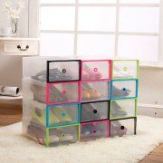 5PCS Clear Transparent Drawer Case Plastic Shoe Boxes Storage Organizer Stackable Box Image 2 of 8