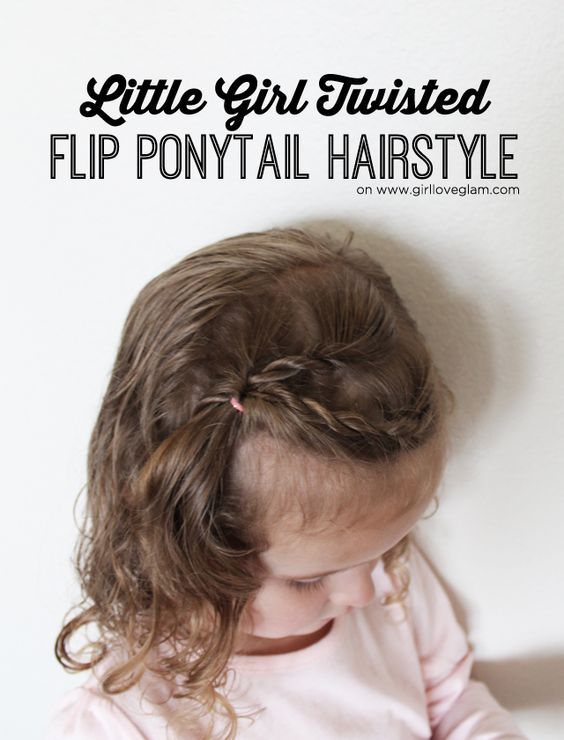 Easy little girl twisted flip ponytail hairstyle! Simple hairstyle for girls. #QuickTwist