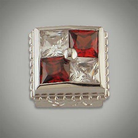 4/4 mm Princess Cut Square 4 Stone CZ White & Red