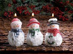 Sparkle Snowman Candle Trio