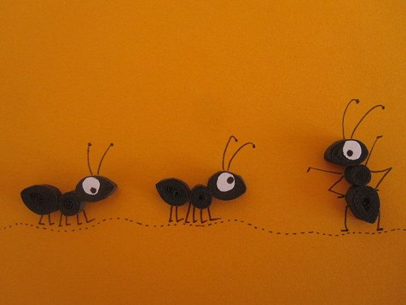 black ants on orange background blank card, quilled art, paper craft. MADE TO ORDER on Etsy, 4,25 €