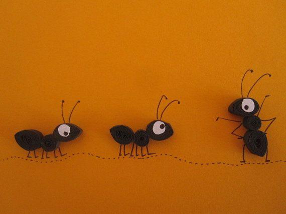 Hormigas negras sobre naranja tarjeta en blanco por ElPetitTaller                                                                                                                                                     Más