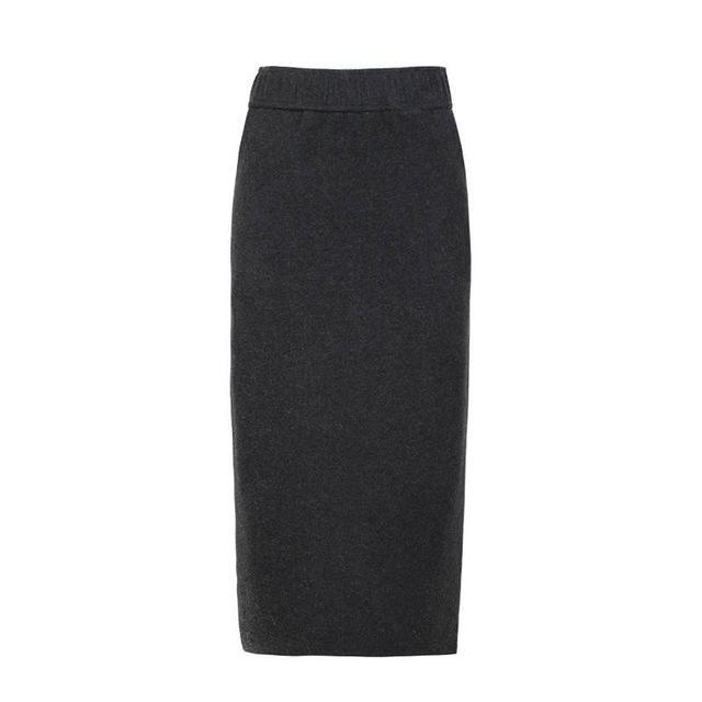 COSWE New Winter Pencil Skirt Womens Grey Black Office Skirts Warm Blend Elastic Elastic Band Mid-Calf Women Vintage Skirts