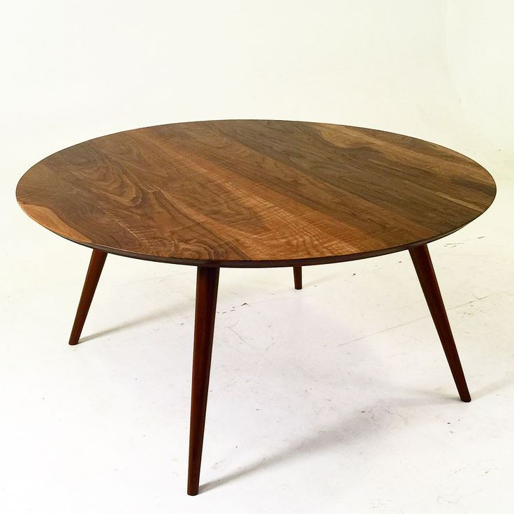 """Solid walnut round dining table. 3 ft radius- 42"""". Custom sizes available upon request. White Glove shipping available through out the continental US. Curbside Delivery available in Los Angeles and ad"""