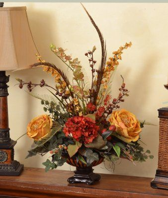 silk flower arrangement feather rose centerpiece ar305 stylish gold roses and brick hydrangeas - Silk Arrangements For Home Decor