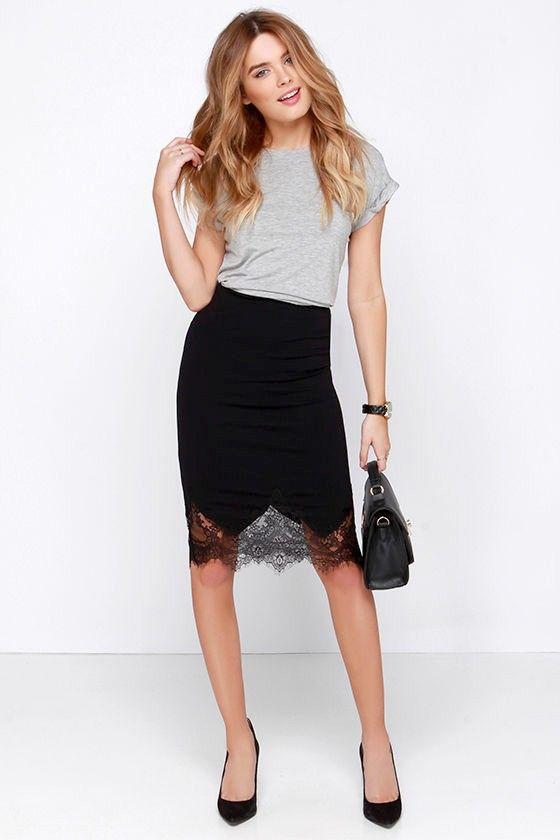 Chic to Me Black Lace Midi Skirt