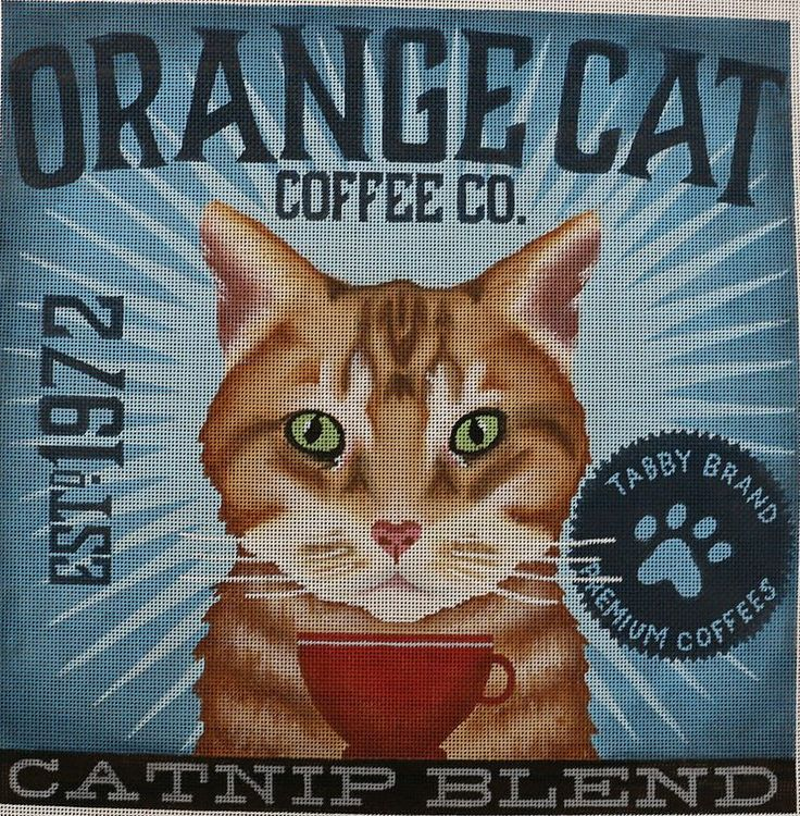 Orange Cat Needlepoint by Stephen Fowler