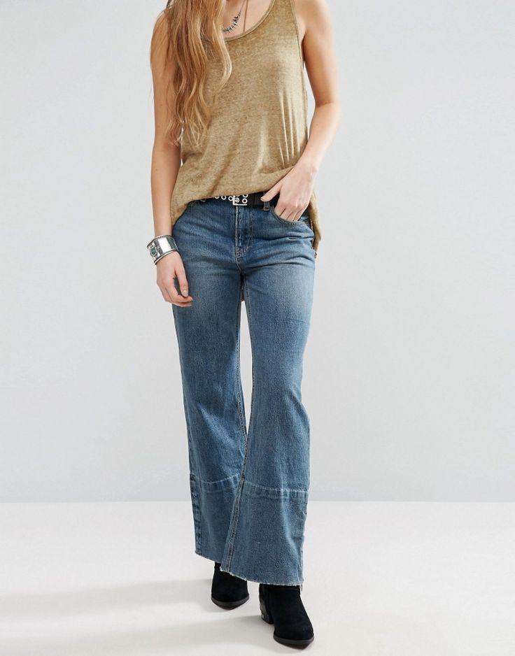 #Damen Free People – Hopkin – Kurz geschnittene Jeans mit Schlag und hohem Bund – Blau, Gr. W29, 2201460387337