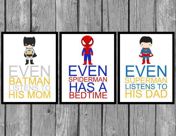 These prints — which come with great lessons for your kid — are also spectacular for the walls. | 23 Ideas For Making The Ultimate Superhero Bedroom