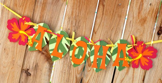 Aloha Luau Banner by prettypaperparty on Etsy