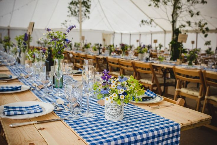 Long Tressle Tables Blue Cloths Runners Rustic Country Marquee Foliage Gingham Wedding http://www.sophieduckworthphotography.com/