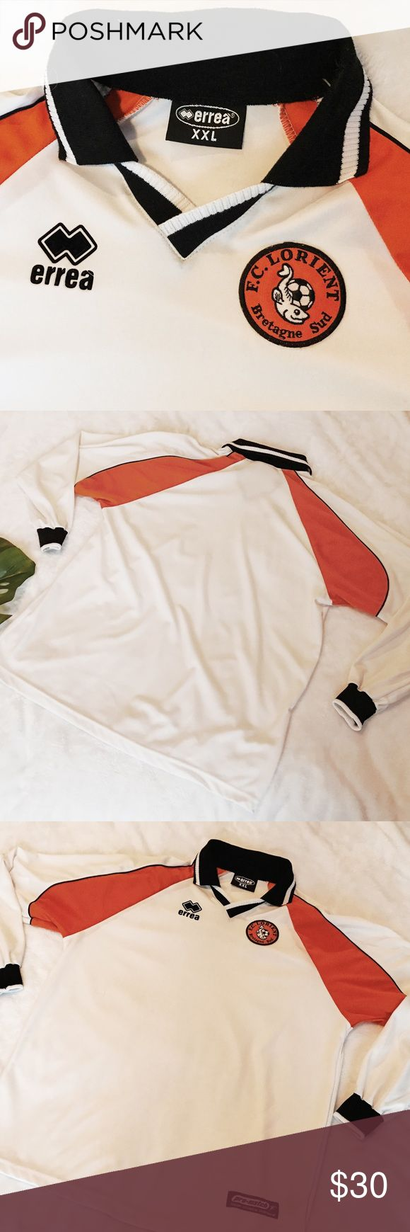 Errea : F.C. Lorient long sleeve soccer jersey Errea : F.C. Lorient long sleeve soccer jersey / XXL / Worn and washed only a couple times, in like new condition free of stains or visible flaws. Errea Shirts Tees - Long Sleeve