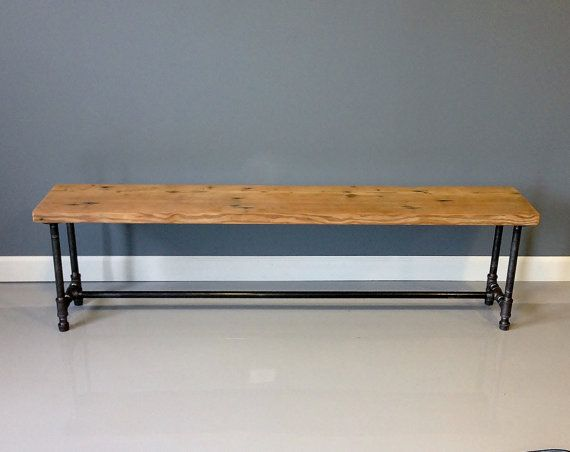 48L Reclaimed Wood Bench Industrial Pipe Legs 48L X 11