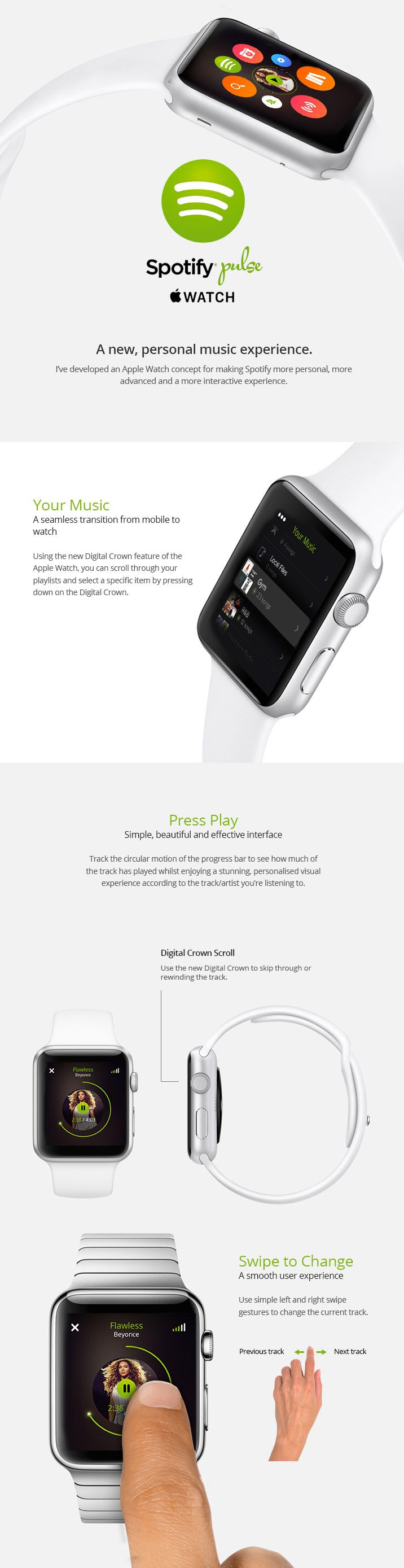 Spotify Pulse - Apple Watch UI http://www.cssdesignawards.com/articles/23-smartwatch-ui-designs-concepts/114/