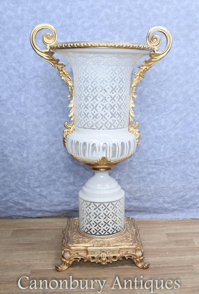 Single French Cut Glass Empire Campana Urn Vase