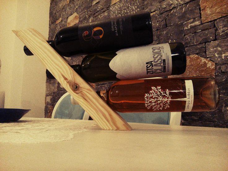 κάβα ξύλινη  ''wine rack'' (τρεις φιάλες)