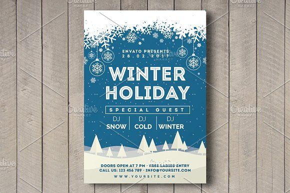 Winter Holiday Flyer by Rafoz on @Graphicsauthor Templates - winter flyer template
