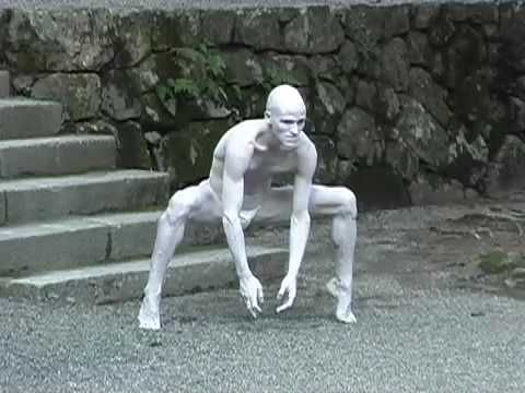"""Part of Swiss Butoh dancer Imre Thormann's performance at Hiyoshi Taisha Shrine in Shiga (Japan) in summer 2006. The live music is by Swiss jazz pianist Nik Baertsch and his band """"Mobile"""""""