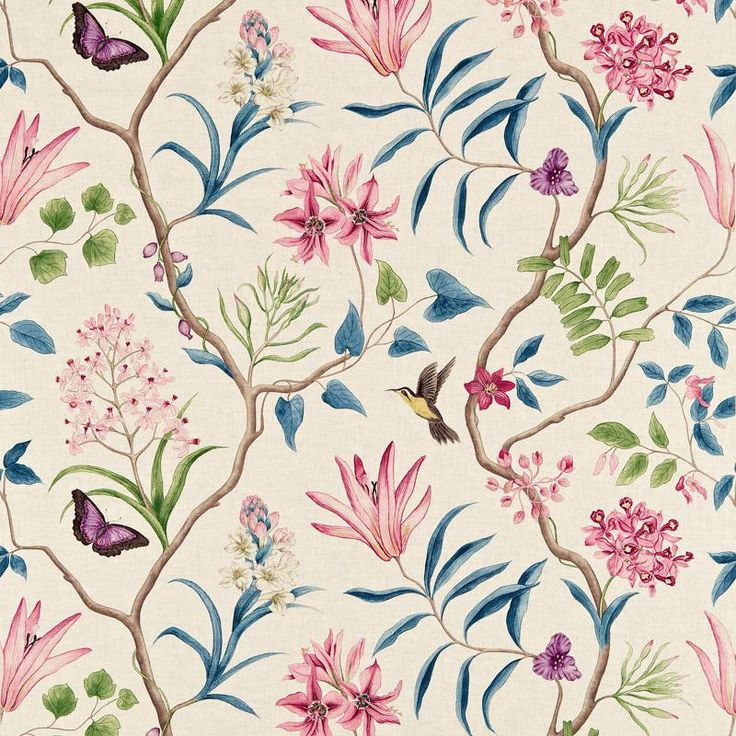 Sanderson Clementine DVOY223297 (Indienne) fabric from the Voyage of Discovery collection, priced per metre. Made to measure conditions apply