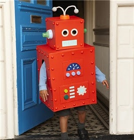 Robot costume out of a cardboard box.