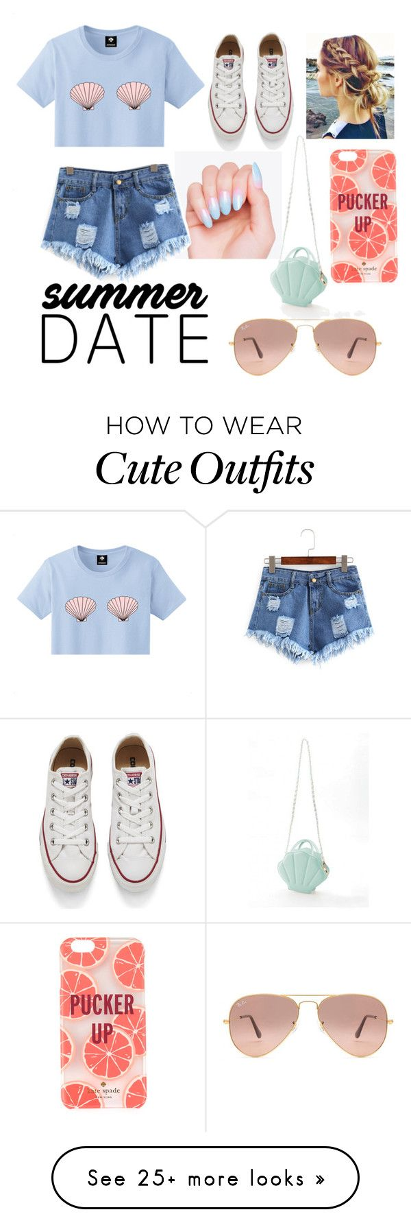 """would die if I had this outfit"" by madasyn-01 on Polyvore featuring Kate Spade, Converse, Ray-Ban, statefair and summerdate"