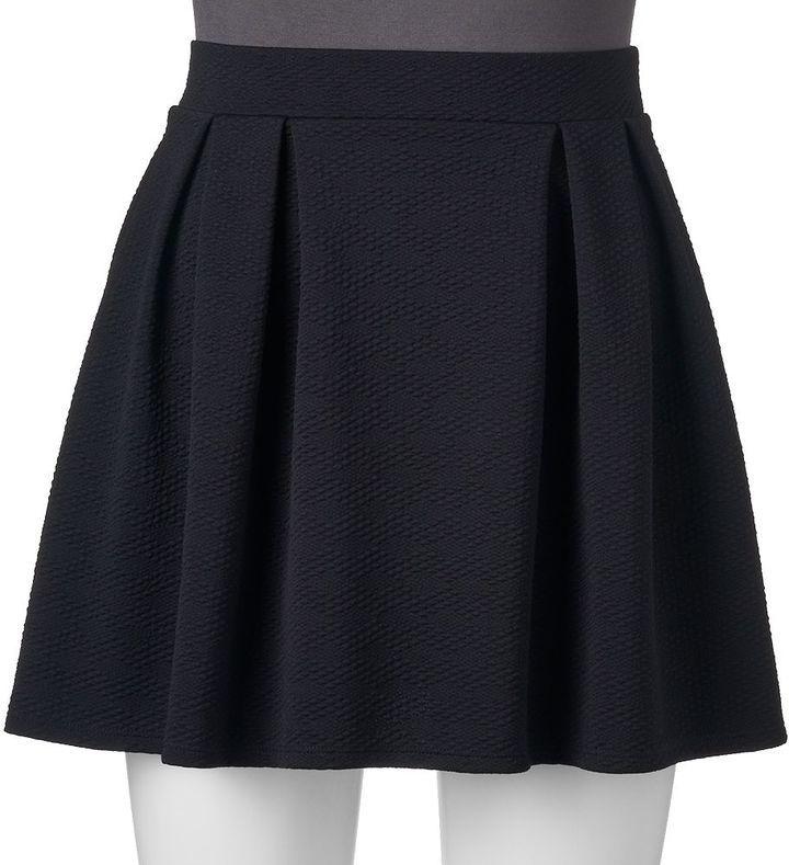 Juniors' Joe B Pleated Textured Skater Skirt