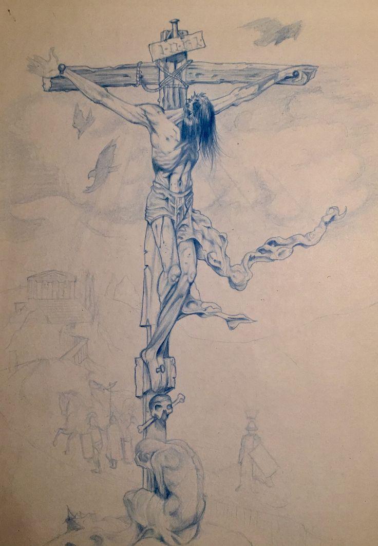 рисунки распятие христа карандашом