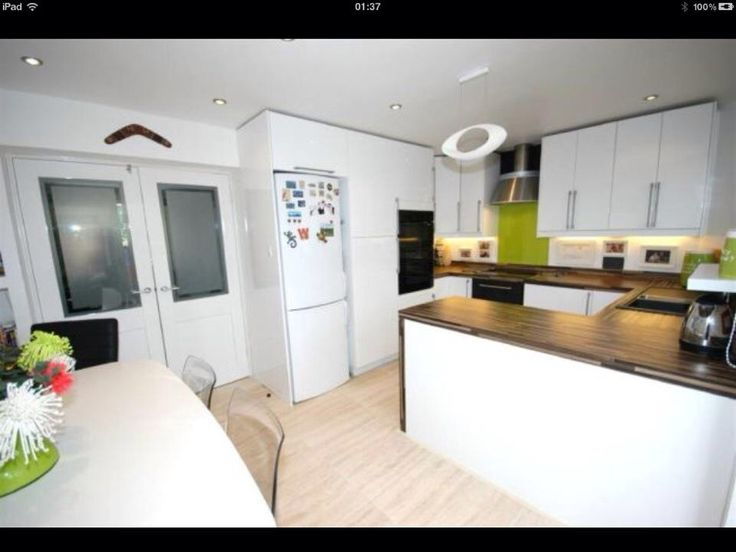 My kitchen in our old house. IKEA Kitchen, Homebase work tops. Lime green splash backs. Miss it