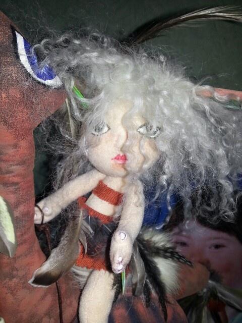 soft cloth doll and bird (deedle)