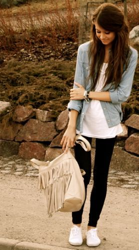 Jean jacket, white tee, black leggings, keds I'd probably wear VANS with this outfit :)