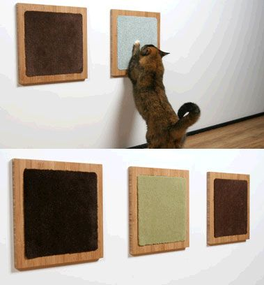 Wall mounted cat scratch pads. DIY it, and use Manx by FLOR, or any cut loop carpet samples.