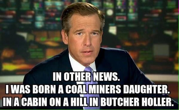 Brian Williams, coal miner's daughter...