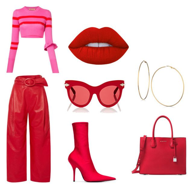 """red"" by goitsemooketsi on Polyvore featuring Carmen March, Balenciaga, Maggie Marilyn, Karen Walker, Michael Kors, GUESS and Lime Crime"